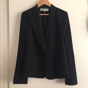 Black kenzo gathered asymmetrical blazer 38